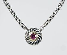David Yurman Sterling Silver 14K Yellow Gold Amethyst Cookie Necklace