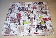 Vintage Mid Century Winter Tree Bark Cloth Panel Circa 1950s