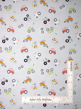 Tractor Construction Dozers Blue-Gray Cotton Fabric #814 Dear Stella By The Yard
