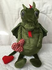 "Ikea Flygdrake Green Dragon Plush Red White Heart Check Plaid Pink Cheek 12"""
