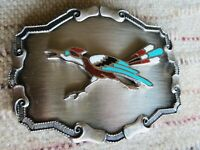 MENS VINTAGE ROAD RUNNER BELT BUCKLE. ENAMEL INLAY ON BRUSHED SILVER ALLOY.