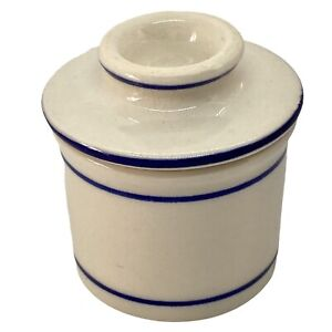 MINI Personal Butter Bell Individual Stoneware Ceramic Keeper French White Blue