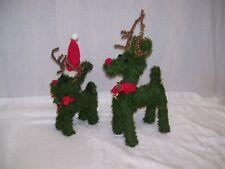 2 Vintage Pine Green Garland Reindeer Bell Pine Cone Christmas Reindeer Figures