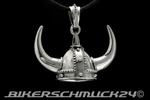Biker Schmuck Anhänger Wikinger Helm mit Hörnern 925 Silber Lederband Geschenk