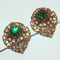 Vintage Deco Bohemian filigree prong set green white rhinestone clip earrings