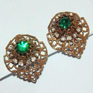 Vintage Deco Bohemian filigree prong set green white rhinestone clip earrings
