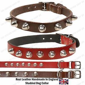 New Adjustable Big Dome W/Lip 100% Leather Handmade In England Dog Cat Collar
