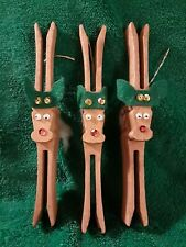 Vintage Handmade Rudolph The Red Nosed Reindeer Christmas Ornament Lot Of 3