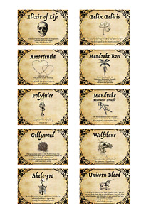 10 x Harry  inspired potion labels  READABLE