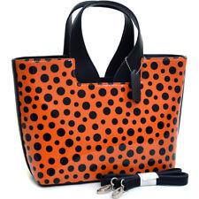 Dasein Women Handbags Glossy Leather Satchel Tote Bag Polka Dot Purse Orange