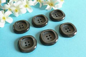 "253C Stunning Buttons Vintage "" Fog "" Grey Iridescent 6 Buttons Ép. 1970/80"
