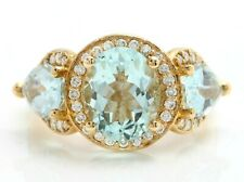 4.75 Carat Natural Blue Aquamarine and Diamonds in 14K Solid Yellow Gold Ring