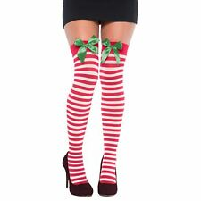 Adult Ladies Elf Red White Stripe Green Bow Christmas Holiday Thigh High Tights