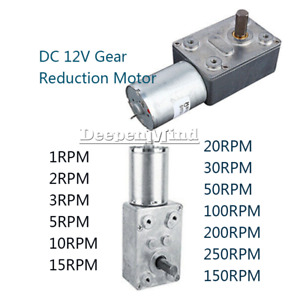 DC12V Gear Reduction Motor Worm Reversible Torque Geared Motor 15/30/50/100RPM