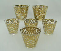 (6) GEORGES BRIARD - SPANISH GOLD - SLANTED OLD FASHIONED GLASSES - FLEUR DE LIS