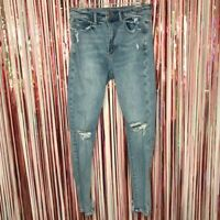 American Eagle distressed Super Hi Rise Jegging denim blue jeans stretch FLAW 6
