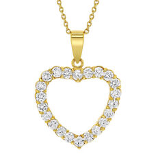 """18k Gold Plated Clear Crystal Love Heart Pendant Necklace 19"""""""
