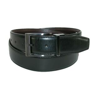 New Dickies Men's Leather Feather Edge Reversible Belt with Gunmetal Buckle