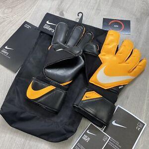 NIKE FOOTBALL GK GRIP 3 GOALKEEPER GLOVES BLACK YELLOW SIZE 8 CN5651-011