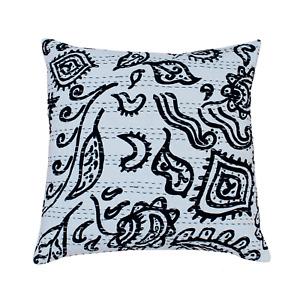 "Black Floral Kantha Cushion Cover Traditional Dorm Sofa Throw Boho Pillow 24X24"""