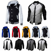 Men's Varsity University College Baseball Jacket Coat Hooded Sweatshirt Outwear
