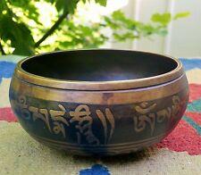 TIBETAN GONG vtg meditation bowl temple bell buddhist prayer yoga art bronze