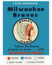 1958 Milwaukee Braves Game Schedule Art Poster - 8x10 Color Photo