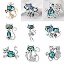 Rhinestone Crystal Cat Animals Brooch Pin Lady Party Jewellery Hot
