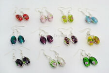 FREE wholesale lot  20Pair  Flower Round murano glass bead Silver Plated earring