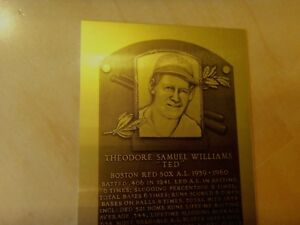 """3""""x4"""" TED WILLIAMS Limited Edition HOF Metallic Baseball Plaque -only 1,000 made"""
