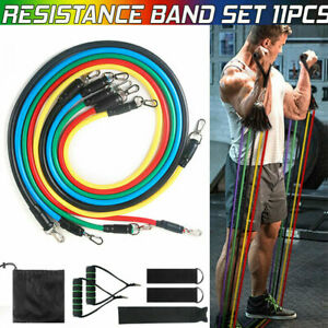 11Pcs Resistance Band Set Workout Bands Yoga Pilates Abs Exercise Fitness Tube