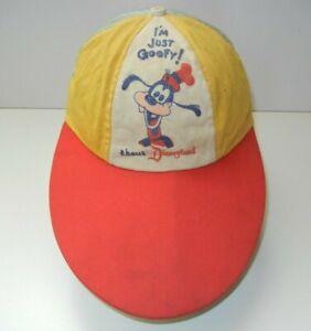 "Vtg 60s Disney ""GOOFY ABOUT DISNEYLAND"" Red/Yellow LONG BILL HAT Baseball Cap"
