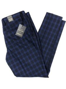 River Island Men Navy Check Tailoring Skinny Fit Smart Trousers W32 L32 BNWT