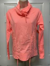 NWT LUCY Activewear Lean and Mean Cowl Neck Pullover Neon Coral Sz S