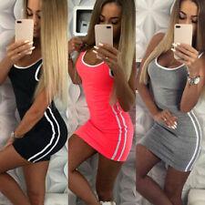 Womens Summer Holiday Striped Bodycon Party Sports Beach Dress Vest Mini Dress