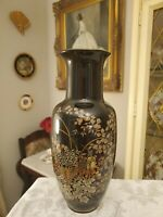 "VINTAGE ASIAN PORCELAIN VASE 12"" TALL BLACK & GOLD FLORAL DESIGN ELEGANT!"
