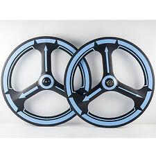 70mm Tri Spoke Carbon Wheelset Road Bike Carbon Wheels Blue Decals 700C Cincher
