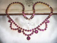 VINTAGE 1950s  JEWELLERY  Amethyst Crystal Rhinestone Swag NECKLACE Special Gift