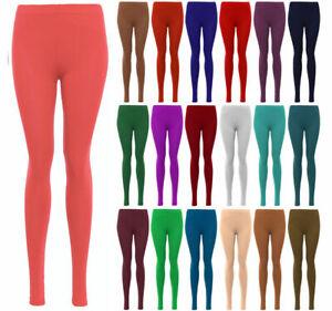 Ladies Womens Viscose Plain Stretchy  Soft Leggings with Elasticated Waist 8-24
