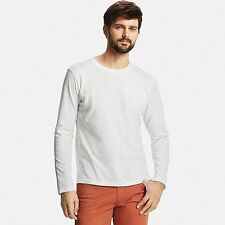 UNIQLO SUPIMA® Cotton Soft Long-Sleeve Crew Neck T-Shirt Men's M White  **NEW**