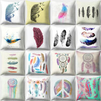 EE_ Feather Dream Catcher Print Throw Pillow Case Cover Cushion Home Decor Novel