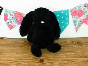 "Jellycat Bashful Bunny Black Rabbit Pink Suede Nose Medium Stuffed Plush Toy 11"""