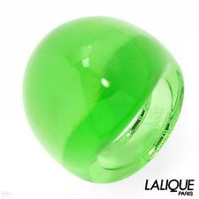 LALIQUE GREEN CRYSTAL CABOCHON DOME BAND COCKTAIL RING SIZE US-6/T52/UK-M