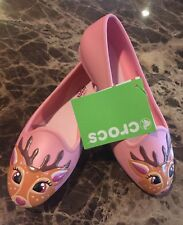 Crocs Eve Novelty Flat Peony Pink DEER Face Girls Size J2 >NEW With Tags