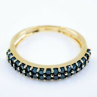 Gold Ring With Blue Diamonds