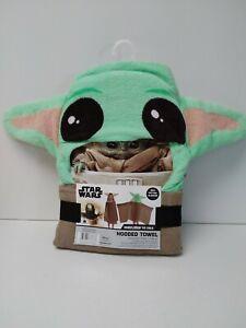 Disney Mandalorian The Child  Hooded Towel Green/Brown 100% Cotton 22X51
