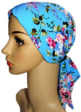 Chemo Head Scarf, suitable for hair loss, alopecia. Padded, easy fasten.  Blue