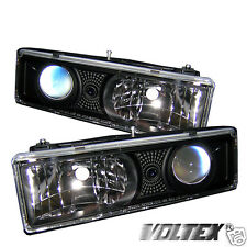 1992-1994 GMC C K 1500 2500 3500 JIMMY PROJECTOR HEADLIGHTS LIGHTBAR BLACK
