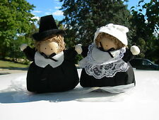 THANKSGIVING PILGRIM COUPLE HANDCRAFTED--1970'S
