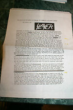 Slayer Undisputed Promotional Band Bio Bag! 1996 Very Rare! Htf Oop Very Limited